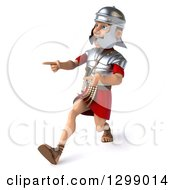 Clipart Of A 3d Young Male Roman Legionary Soldier Walking And Pointing To The Left Royalty Free Illustration