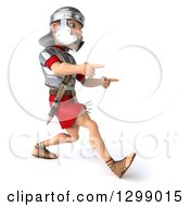 Clipart Of A 3d Young Male Roman Legionary Soldier Walking And Pointing To The Right Royalty Free Illustration