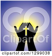 Clipart Of Silhouetted Hands Holding A Cross With Glowing Light On Purple Royalty Free Vector Illustration by ColorMagic