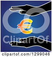 Clipart Of Silhouetted Hands Protecting A Gradient Euro Currency Symbol Over Blue Royalty Free Vector Illustration