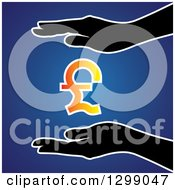 Clipart Of Silhouetted Hands Protecting A Gradient Pounds Currency Symbol Over Blue Royalty Free Vector Illustration