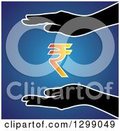 Clipart Of Silhouetted Hands Protecting A Gradient Rupee Currency Symbol Over Blue Royalty Free Vector Illustration