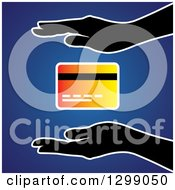 Clipart Of Silhouetted Hands Protecting A Gradient Credit Card Over Blue Royalty Free Vector Illustration by ColorMagic