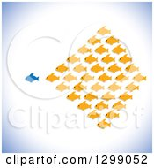 Clipart Of A Different Blue Fish Leading A School Of Orange Fish Royalty Free Vector Illustration by ColorMagic
