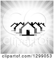 Clipart Of A Black And White Houses With A Reflection Over Gray Rays Royalty Free Vector Illustration by ColorMagic