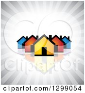 Clipart Of A Neighborhood Of Colorful Houses With A Reflection Over Gray Rays Royalty Free Vector Illustration by ColorMagic