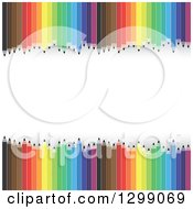 Clipart Of A Background Of Colorful Pencils Framing White Text Space Royalty Free Vector Illustration