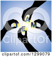 Clipart Of Black Silhouetted Hands Holding Letters Spelling TEAM Over Blue Royalty Free Vector Illustration by ColorMagic