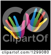 Clipart Of A Pair Of Colorful Hands On Black Royalty Free Vector Illustration