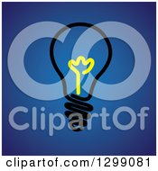 Clipart Of A Black Light Bulb With A Yellow Center On Blue Royalty Free Vector Illustration by ColorMagic