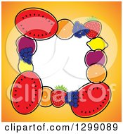 Clipart Of A Border Of Watermelons Navel Oranges Blueberries Strawberries Lemons Plums And Navel Oranges Around White Space Royalty Free Vector Illustration by ColorMagic