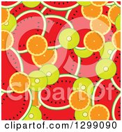 Clipart Of A Seamless Background Of Watermelons Kiwis And Oranges Royalty Free Vector Illustration