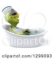 Clipart Of A 3d Tortoise Turtle Sailor Wearing Sunglasses Facing Right And Soaking In A Bath Tub Royalty Free Illustration