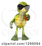 Clipart Of A 3d Tortoise Wearing Sunglasses And Drinking Iced Tea Royalty Free Illustration