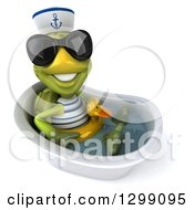 Clipart Of A 3d Tortoise Turtle Sailor Wearing Sunglasses Facing Right Sitting And Wearing A Duck Inner Tube In A Tub Royalty Free Illustration
