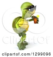 Poster, Art Print Of 3d Tortoise Wearing Sunglasses Facing Right And Drinking Iced Tea
