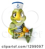 Clipart Of A 3d Tortoise Turtle Sailor Looking Up Smiling And Sitting On The Floor With A Duck Inner Tube Royalty Free Illustration