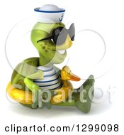 Clipart Of A 3d Tortoise Turtle Sailor Wearing Sunglasses Facing Right Sitting And Wearing A Duck Inner Tube Royalty Free Illustration