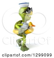 Clipart Of A 3d Tortoise Turtle Sailor Wearing Sunglasses Facing Right Walking And Wearing A Duck Inner Tube Royalty Free Illustration