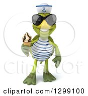 Clipart Of A 3d Tortoise Turtle Sailor Wearing Sunglasses And Holding A Waffle Ice Cream Cone Royalty Free Illustration