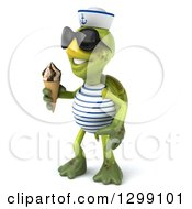 Clipart Of A 3d Tortoise Turtle Sailor Wearing Sunglasses Facing Left And Holding A Waffle Ice Cream Cone Royalty Free Illustration