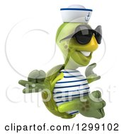 Clipart Of A 3d Tortoise Turtle Sailor Wearing Sunglasses Facing Right And Meditating Royalty Free Illustration