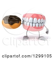 3d Mouth Teeth Mascot Holding A Chocolate Frosted Donut