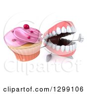 3d Mouth Teeth Mascot Holding Up A Thumb And A Pink Frosted Cupcake
