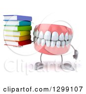 3d Mouth Teeth Mascot Holding A Stack Of Books