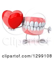 3d Mouth Teeth Mascot Holding A Thumb Down And A Heart