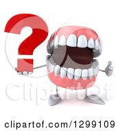 3d Mouth Teeth Mascot Holding A Question Mark And Giving A Thumb Up