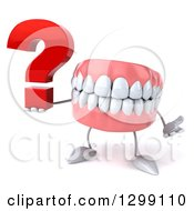 3d Mouth Teeth Mascot Shrugging And Holding A Question Mark