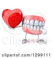 3d Mouth Teeth Mascot Holding And Pointing To A Heart