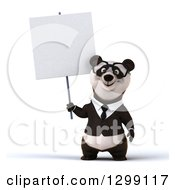 Clipart Of A 3d Bespectacled Happy Business Panda Holding A Blank Sign Royalty Free Illustration