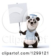 Clipart Of A 3d Panda Sailor Holding Up A Blank Sign Royalty Free Illustration by Julos