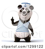 Clipart Of A 3d Panda Sailor Holding Up A Finger Royalty Free Illustration by Julos