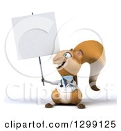 Clipart Of A 3d Doctor Or Veterinarian Squirrel Holding And Pointing To A Blank Sign Royalty Free Illustration