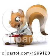 Clipart Of A 3d Doctor Or Veterinarian Squirrel Facing Left And Reading A Book Royalty Free Illustration