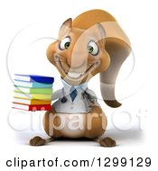 Clipart Of A 3d Doctor Or Veterinarian Squirrel Holding A Stack Of Books Royalty Free Illustration