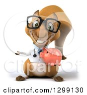 Clipart Of A 3d Bespectacled Doctor Or Veterinarian Squirrel Presenting And Holding A Piggy Bank Royalty Free Illustration