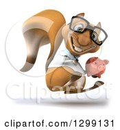 Clipart Of A 3d Bespectacled Doctor Or Veterinarian Squirrel Facing Slightly Right Jumping And Holding A Piggy Bank Royalty Free Illustration