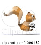 Clipart Of A 3d Squirrel Facing Right And Hopping With A Soccer Ball Royalty Free Illustration