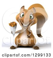 Clipart Of A 3d Squirrel Holding French Fries Royalty Free Illustration