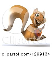 Clipart Of A 3d Squirrel Facing Right Hopping And Playing A Guitar Royalty Free Illustration
