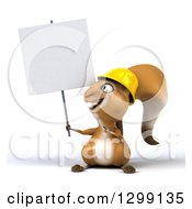 Clipart Of A 3d Construction Squirrel Holding And Pointing To A Blank Sign Royalty Free Illustration