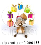 Clipart Of A 3d Christmas Squirrel Looking Up And Juggling Gifts Royalty Free Illustration