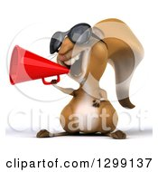 Clipart Of A 3d Squirrel Wearing Sunglasses And Announcing With A Megaphone Royalty Free Illustration