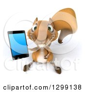 Clipart Of A 3d Squirrel Holding Up A Smart Phone Royalty Free Illustration