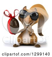 Clipart Of A 3d Squirrel Wearing Sunglasses And Holding A Chocolate Easter Egg Royalty Free Illustration