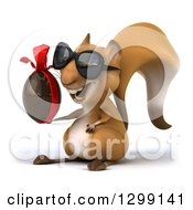 Clipart Of A 3d Squirrel Wearing Sunglasses Facing Left And Holding A Chocolate Easter Egg Royalty Free Illustration